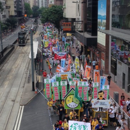 Hundreds of migrant domestic workers peacefully march to Admiralty
